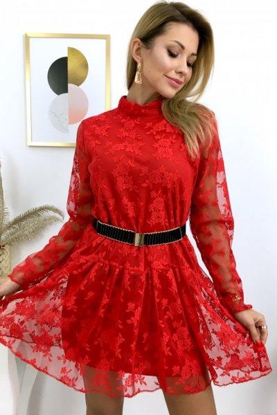Sukienka XMASS - koronkowa - czerwona