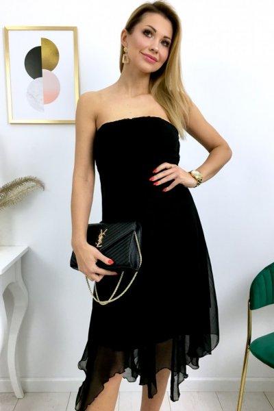 Sukienka bez ramiączek - asymetryczny dół - czarna