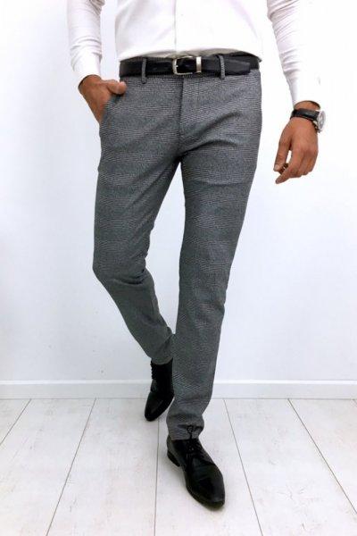 Spodnie materiałowe w kratę H51 - szare