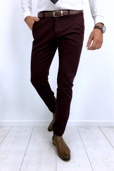 Spodnie męskie materiałowe gładkie - bordo H53