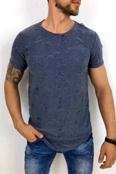 T shirt niebieski z przetarciami
