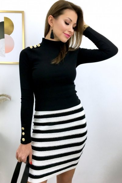 Spódnica LEXI w pasy - black/white