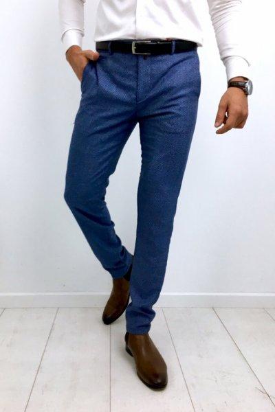 Spodnie męskie materiałowe drobny wzór H50 - niebieskie