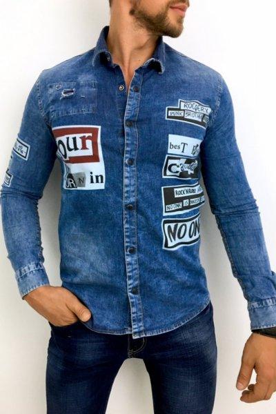 Koszula męska ciemny jeans z nadrukiem - H004