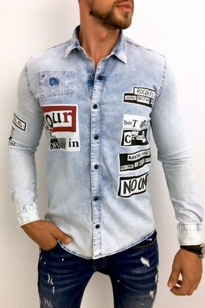 Koszula męska jasny jeans z nadrukiem - H004