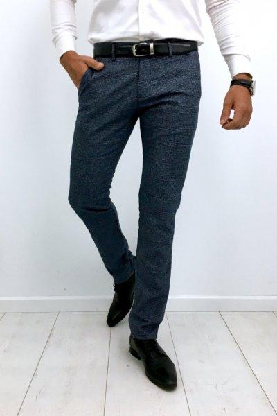 Spodnie materiałowe w kratę H51 - ciemne niebieskie