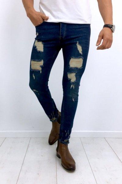 Spodnie męskie z przetarciami 1048 - ciemny jeans