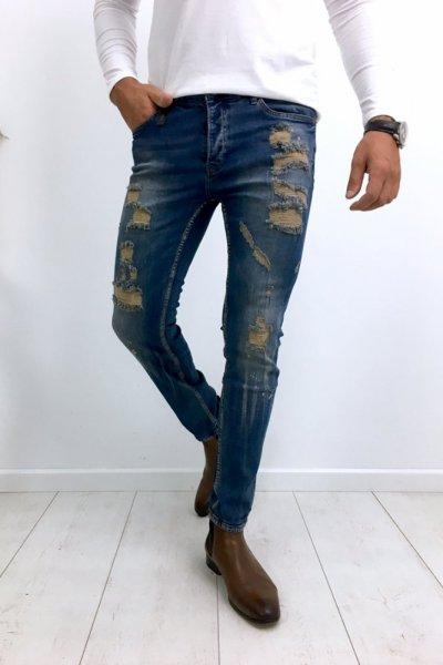 Spodnie męskie jeans z przetarciami 1004