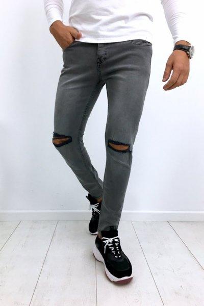 Spodnie szare z dziurami 461 slim fit