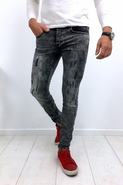 Spodnie jeans z przetarciami - grafitowe KYB920