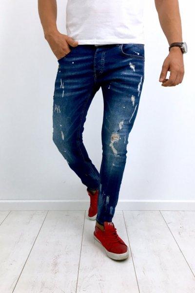 Spodnie jeans z przetarciami i plamami z farby 4090