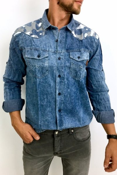 Koszula jeans wstawki moro - jasna