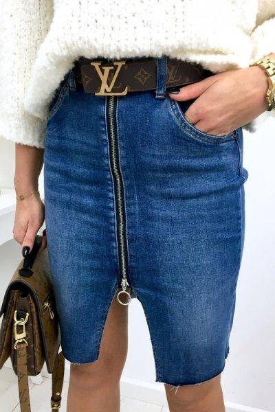 Spódnica jeans z suwakiem - blue