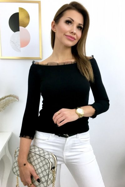 Bluzka BASIC + szyfon - czarna