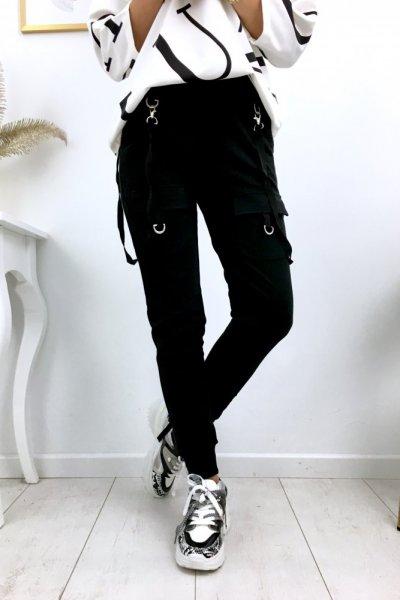 Spodnie dresowe MEGG szelki - black