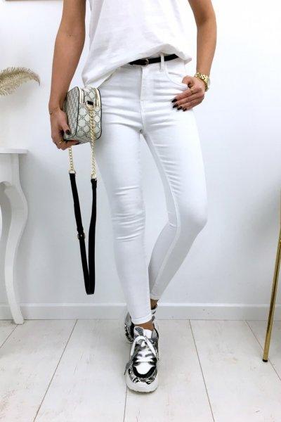 Spodnie jeansy skinny - white