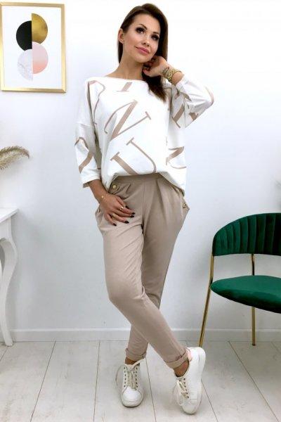 Spodnie dresowe GOLD button -beż