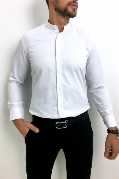 Koszula męska klasyczna ze stójką biała
