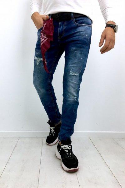 Spodnie męskie jeans z przetarciami C386-M