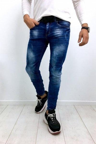 Spodnie męskie jeans z przetarciami YB185 SLIM FIT