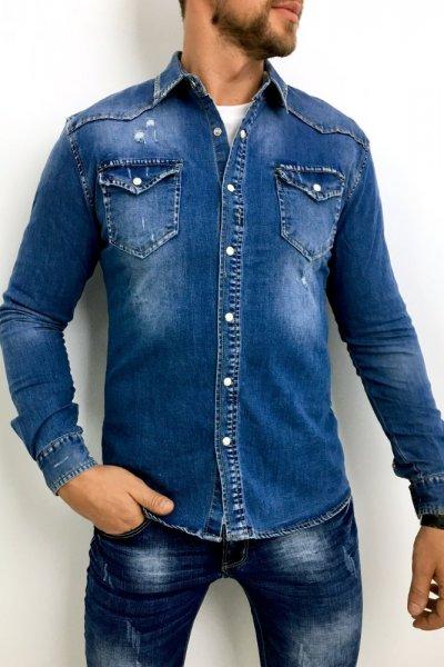 Koszula jeans z przetarciami CA-630K
