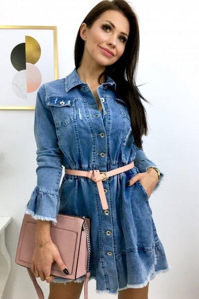 Sukienka VERSO jeansowa na guziki - blue