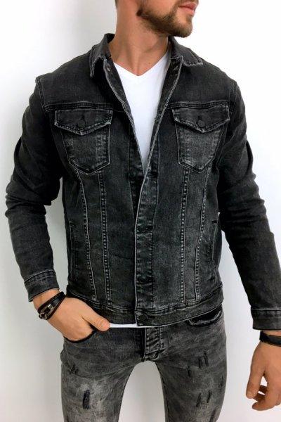 Kurtka męska jeans czarna XSF78268