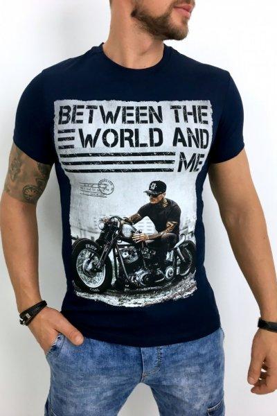 T shirt męski granat BTW