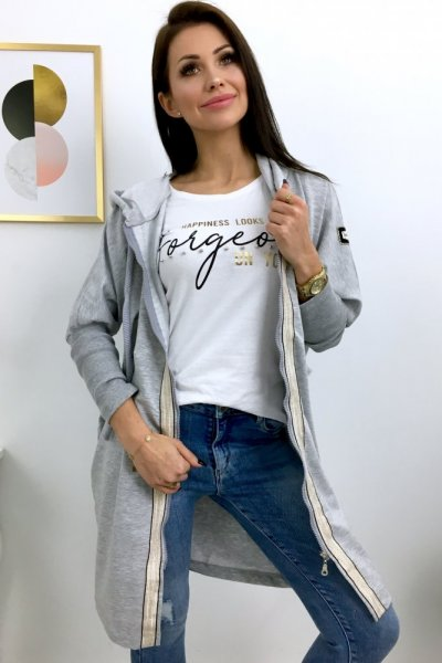 Bluza LONG na suwak - grey/gold
