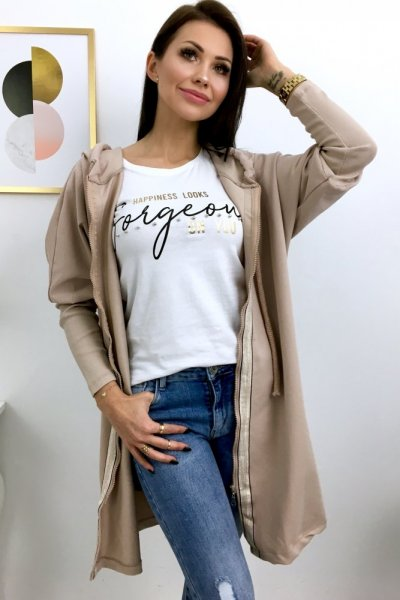 Bluza LONG na suwak - beige/gold