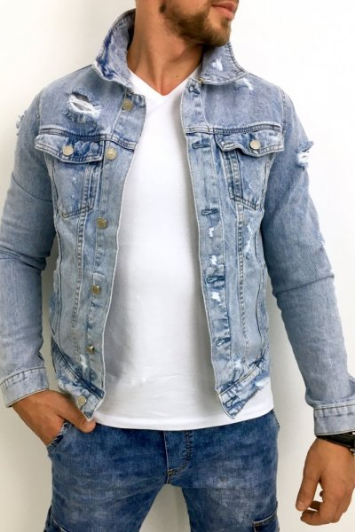 Kurtka męska jeans AK580 JASNY JEANS
