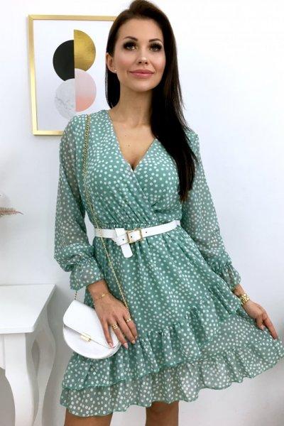 Sukienka w groszki - mint
