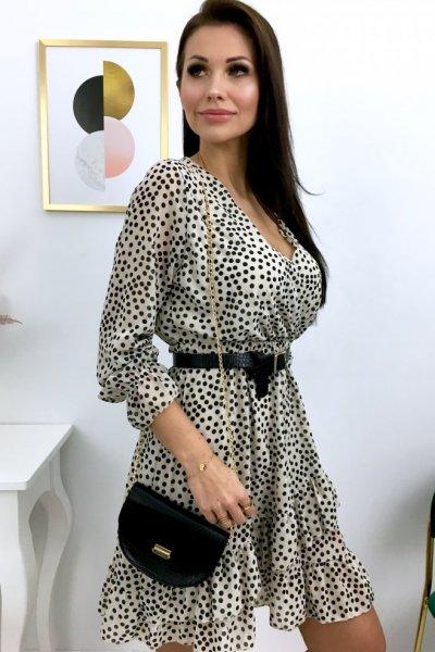 Sukienka w groszki - ecru