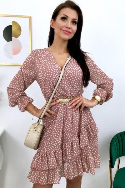 Sukienka w groszki - pink