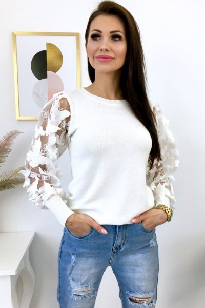 Sweter BUTTERFLY - white