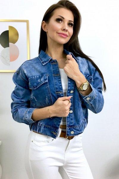 Katana/kurtka jeans ze ściągaczem - blue