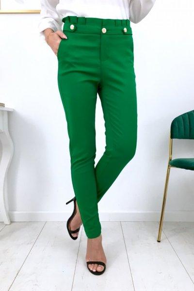 Spodnie cygaretki ze złotymi guzikami - green