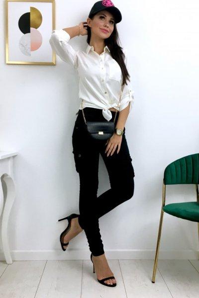 Spodnie damskie typu bojówki - czarne