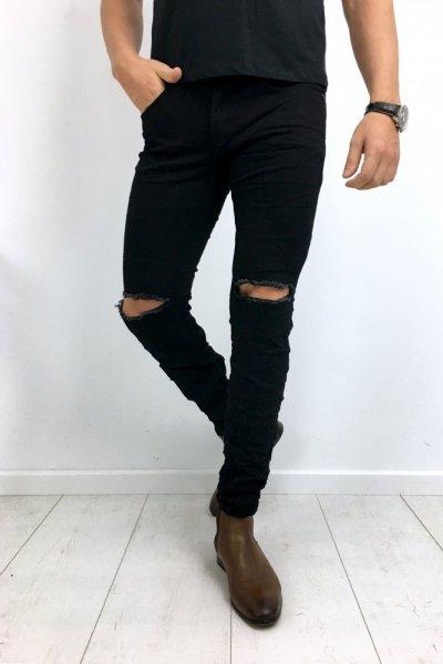 Spodnie męskie czarne z przetarciami YB200