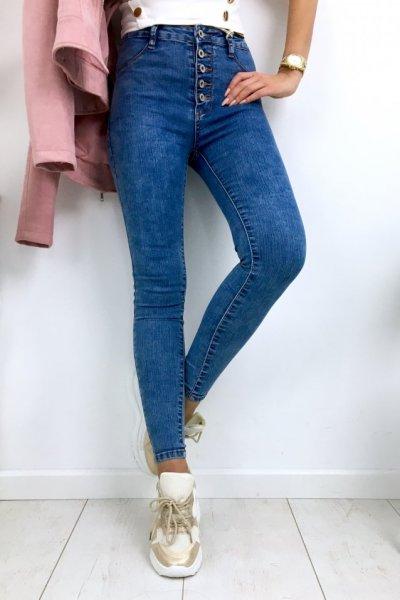 Spodnie jeans na guziki , wysoki stan - blue