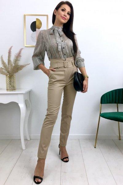 Spodnie/cygaretki w kant, wysoki stan + pasek - beige