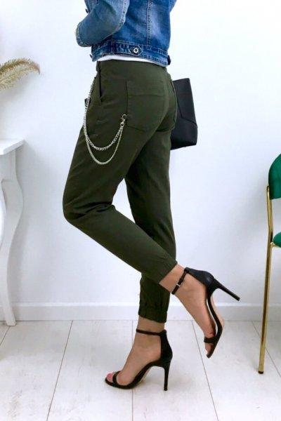 Spodnie/jeansy bojówki z łańcuchem - khaki (Q1072-63 )