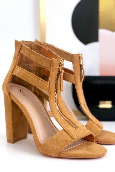 Sandałki ZIP - camel