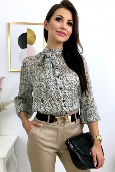 Bluzka ELEGANT z wiązaniem - ecru/black/gold