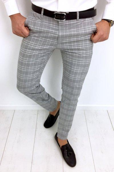 Spodnie materiałowe szare w białą kratę - H74