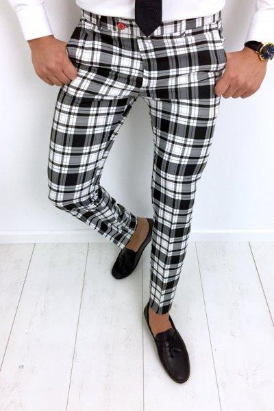 Spodnie męskie materiałowe w kratę H77