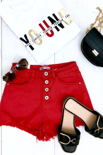 Szorty/spodenki jeans SEXY - red