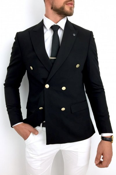 Marynarka męska dwurzędowa czarna H05