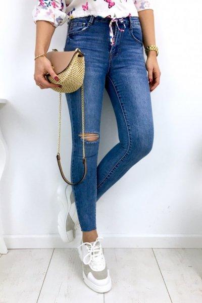 Spodnie jeans skinny z rozcięciem - blue