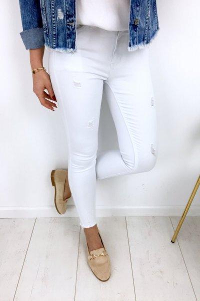 Spodnie jeans/skinny z przetarciami - white
